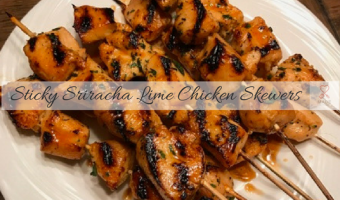 Sticky Sriracha Lime Chicken Skewers
