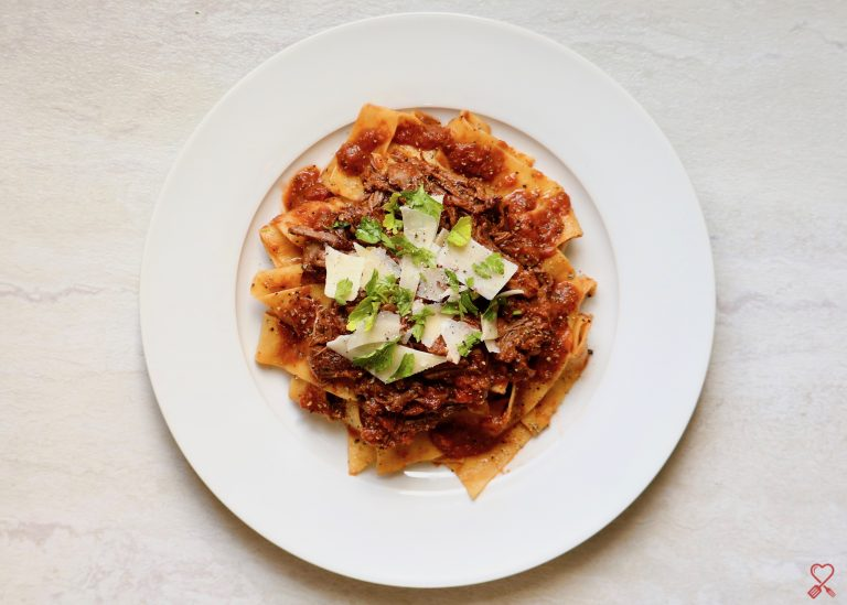 Slow Cooked Beef Ragu over Pappardelle Pasta
