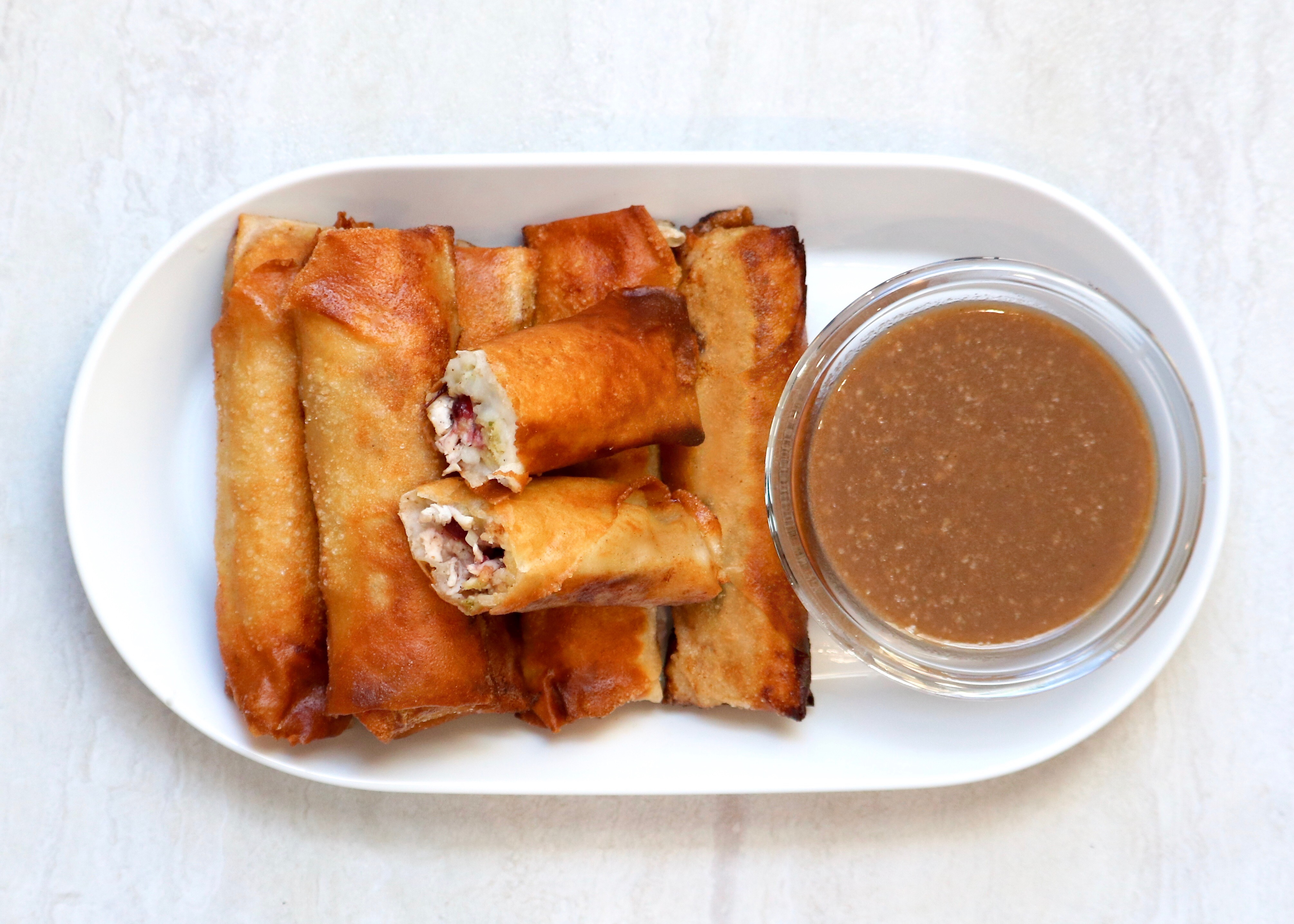 Thanksgiving Spring Rolls w/ Tony Chachere's Brown Gravy Dipping Sauce
