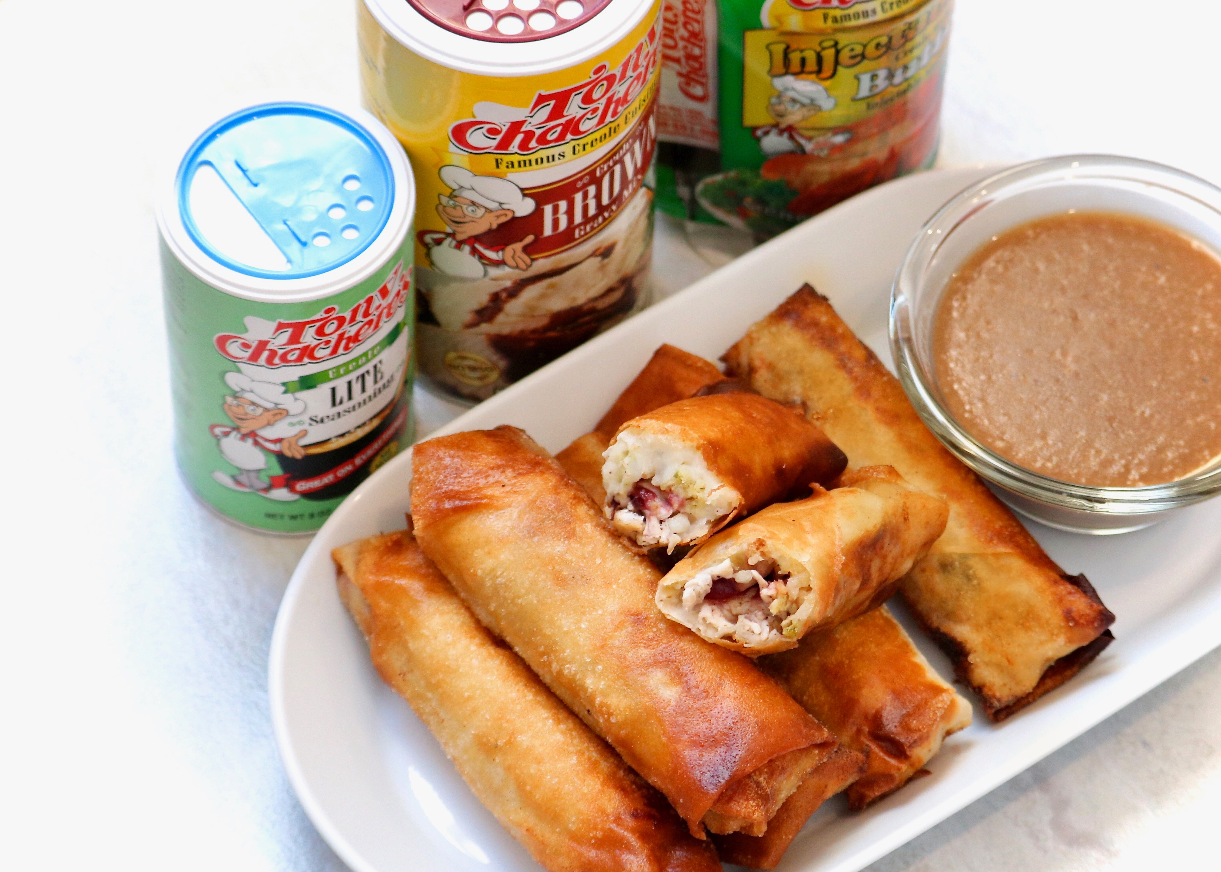 Thanksgiving Spring Rolls w/ Tony Chachere's Brown Gravy Dipping Sauce 2